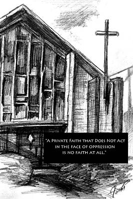 Oppression Drawing - Bay Ridge Church Truth by Mary Fanning