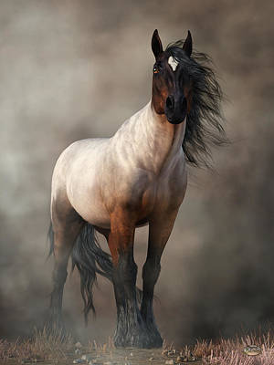 Digital Art - Bay Roan Horse Art by Daniel Eskridge