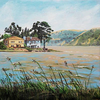 Painting - Bay Scenery With Houses by Masha Batkova