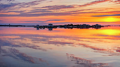 Boathouse Photograph - Bay Sunrise by Mike Lang