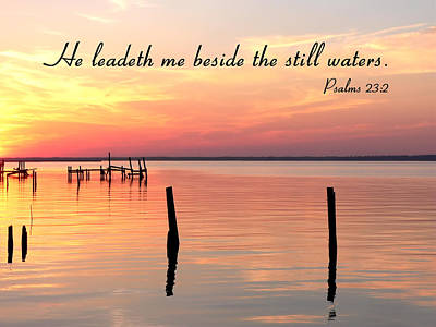 Photograph - Bay Sunset Still Waters Psalm by Kathy K McClellan