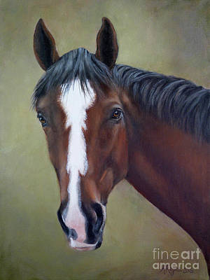 Painting - Bay Thoroughbred Horse Portrait Ottb by Amy Reges
