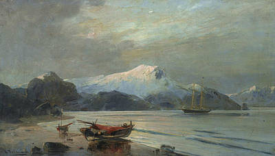 Greek Art Painting - Bay With Boats by Konstantinos Volanakis
