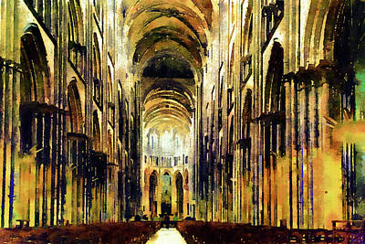 Painting - Bayeux Cathedral Golden Morning by Georgiana Romanovna