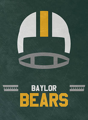 Mixed Media - Baylor Bears Vintage Football Art by Joe Hamilton