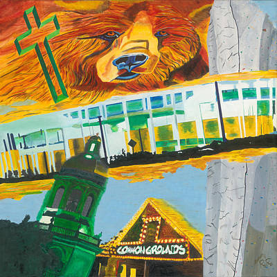 Baylor Campus Graffiti Art Print by RR Gallery