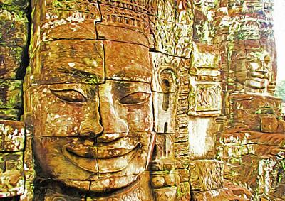Digital Art - Bayon Temple Faces by Dennis Cox Photo Explorer