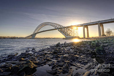Bayonne Bridge Sunset Art Print by Michael Ver Sprill