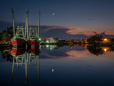 Photograph - Bayou At Dusk With Crescent Moon by Brad Boland