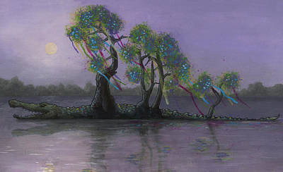 Crocodile Painting - Bayou Bound by Richardson Comly