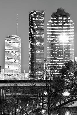 Photograph - Bayou City In Black And White - Houston Vertical Skyline  by Gregory Ballos