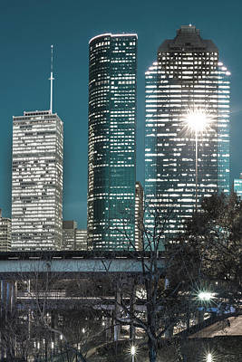 Photograph - Bayou City In Midnight Blue - Houston Vertical Skyline  by Gregory Ballos