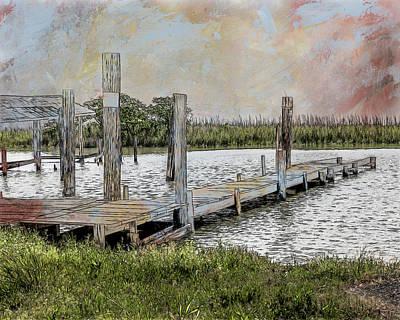 Mixed Media - Bayou Dock by Erwin Spinner