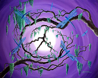 Surreal Art Painting - Bayou Peace Tree by Laura Iverson