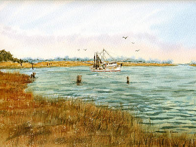 Painting - Bayou Shrimping by Barry Jones
