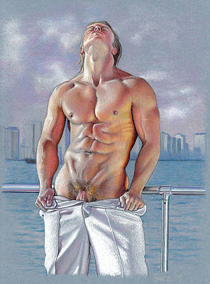 Male Nude Drawing Drawing - Bayside by Chance Manart