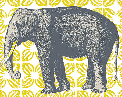Bazaar Elephant Yellow Art Print by Thomas Paul