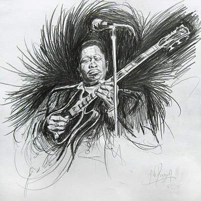 Drawing - Bb King by Michael Morgan