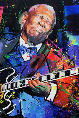 Bright Colours Painting - Bb King Portrait by Richard Day