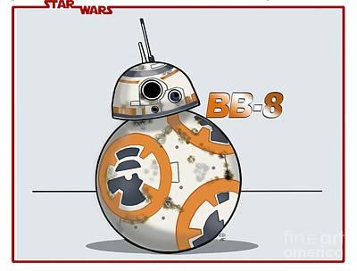 Drawing - bb8 by Chris DelVecchio