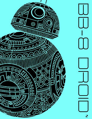 Royalty-Free and Rights-Managed Images - BB8 DROID - Star Wars Art, Blue by Studio Grafiikka