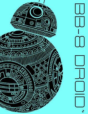 Film Mixed Media - Bb8 Droid - Star Wars Art, Blue by Studio Grafiikka