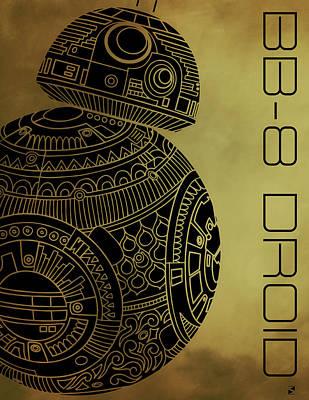 Movie Star Mixed Media - Bb8 Droid - Star Wars Art - Brown by Studio Grafiikka