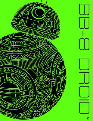 Movie Star Mixed Media - Bb8 Droid - Star Wars Art, Green by Studio Grafiikka