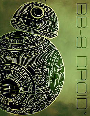 Royalty-Free and Rights-Managed Images - BB8 DROID - Star Wars Art - Metallic by Studio Grafiikka