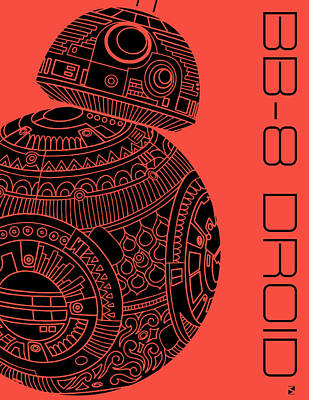 Royalty-Free and Rights-Managed Images - BB8 DROID - Star Wars Art, Red by Studio Grafiikka