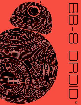 Movie Star Mixed Media - Bb8 Droid - Star Wars Art, Red by Studio Grafiikka