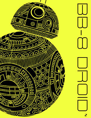 Royalty-Free and Rights-Managed Images - BB8 DROID - Star Wars Art, Yellow by Studio Grafiikka