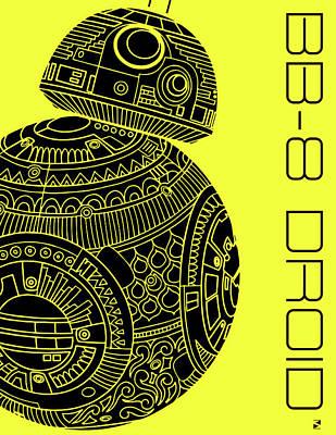 Movie Star Mixed Media - Bb8 Droid - Star Wars Art, Yellow by Studio Grafiikka