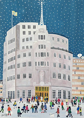 Wintry Drawing - Bbc's Broadcasting House  by Judy Joel