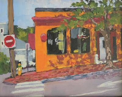 Painting - B B Q On Congress Street by Bill Tomsa