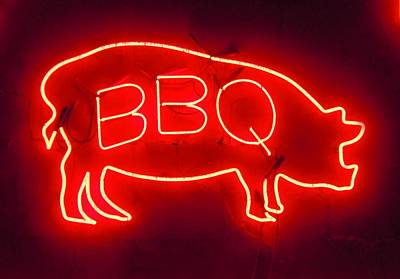 Que Photograph - Barbecue Pig Neon 1 by Timothy Smith
