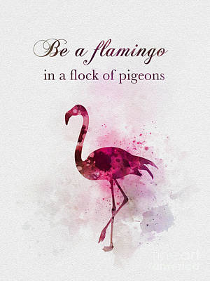 Mixed Media - Be A Flamingo by Rebecca Jenkins