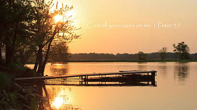 Dock Photograph - Be At Peace by Inspired Arts