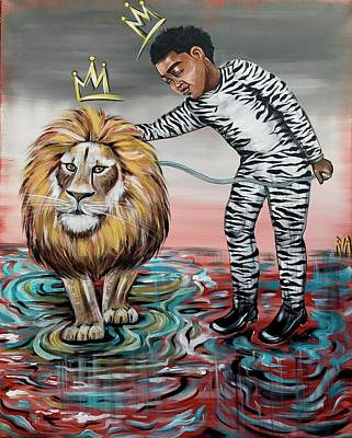 Animals Painting - Be Courageous My Son by Artist RiA