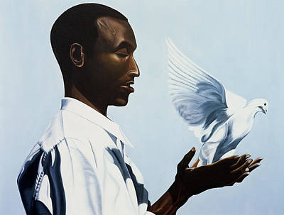 Doves Painting - Be Free Three by Kaaria Mucherera