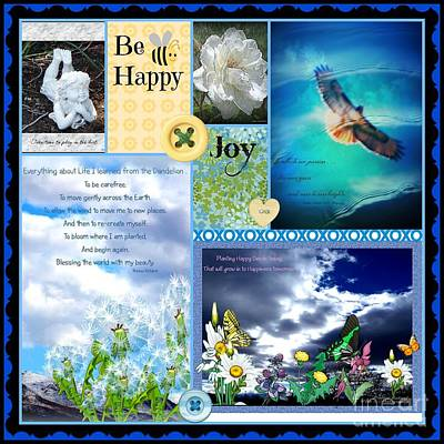Photograph - Be Happy Collage Design By Bobbee by Bobbee Rickard