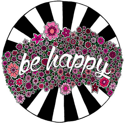 Black Digital Art - Be Happy by Elizabeth Davis