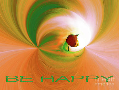 Digital Art - Be Happy, Green-orange With Physalis by Eva-Maria Di Bella