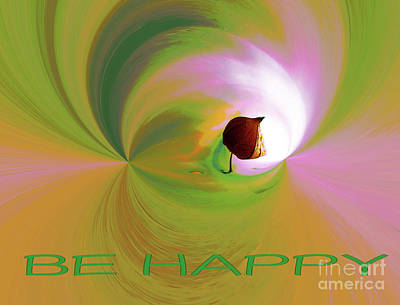 Digital Art - Be Happy, Green-pink With Physalis by Eva-Maria Di Bella