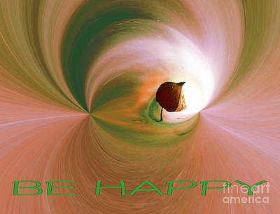Digital Art - Be Happy Green-rose With Physalis by Eva-Maria Di Bella