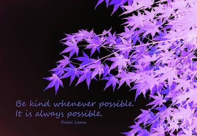 Be Kind Art Print by Susan Lafleur