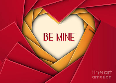 Digital Art - Be Mine Geometric Heart by JH Designs