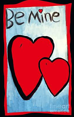 Photograph - Be Mine Hearts Illustration by Susan Garren