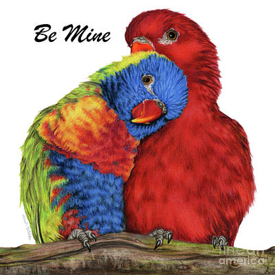 Lovebird Painting - Be Mine by Sarah Batalka