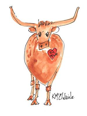 Painting - Be Mine Valentine Longhorn by Kathleen McElwaine